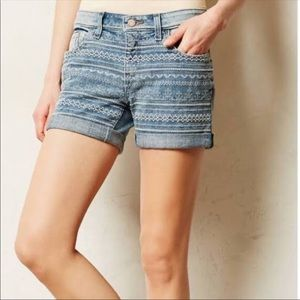 Anthropologie pilcro embroidered denim shorts blue